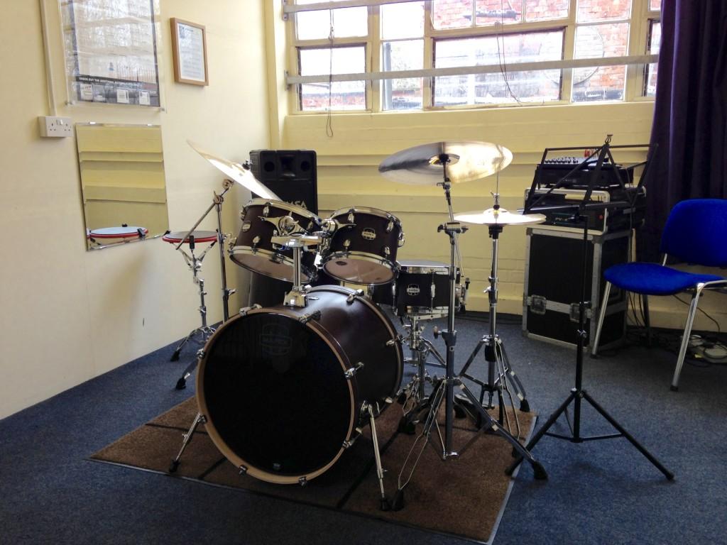 Mapex Mars drum set in Studio 2 of Dye House Drum Works.