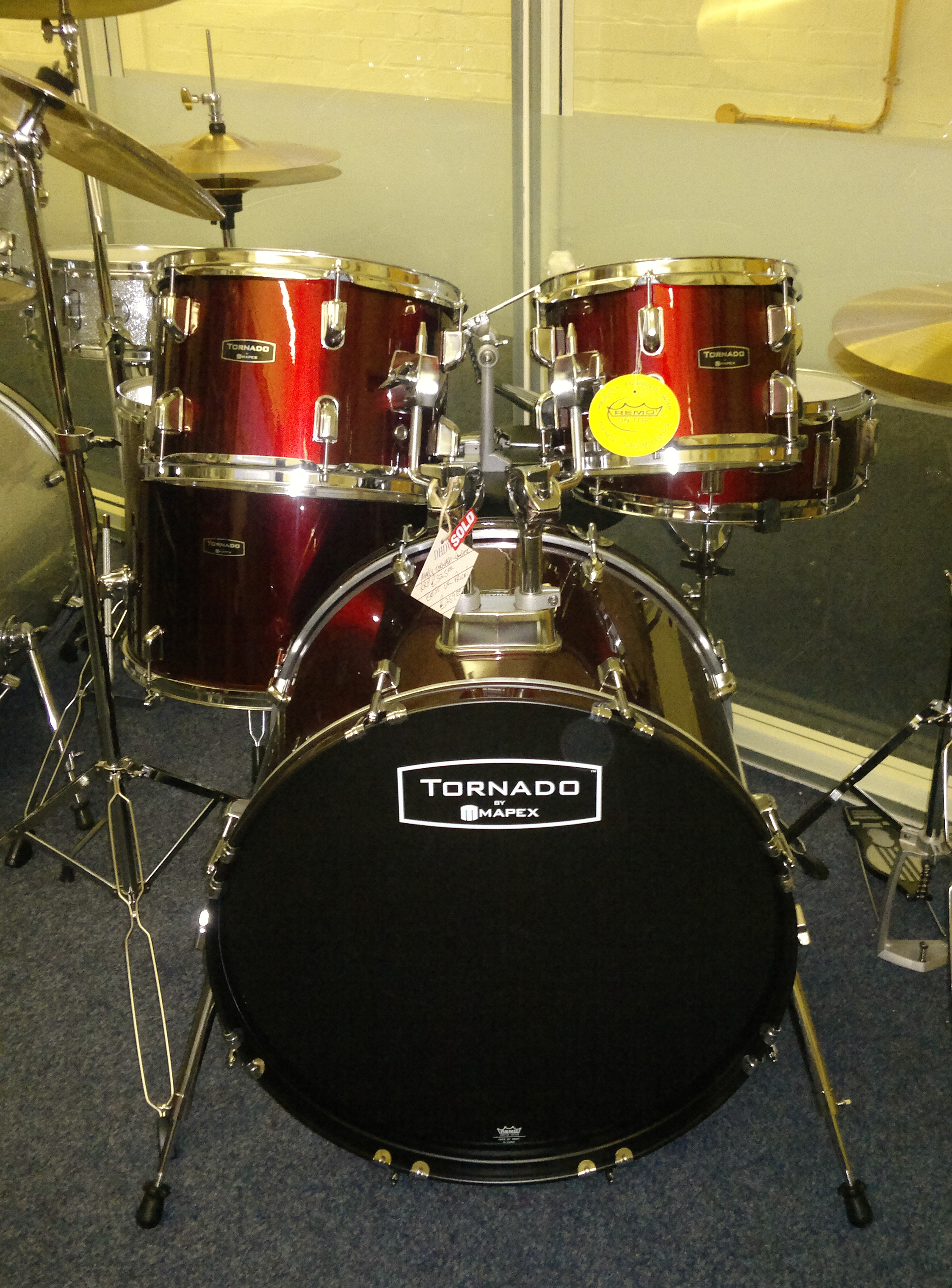 Mapex Tornado drum kit at the Dye House Drum Works drum shop, Leicester.