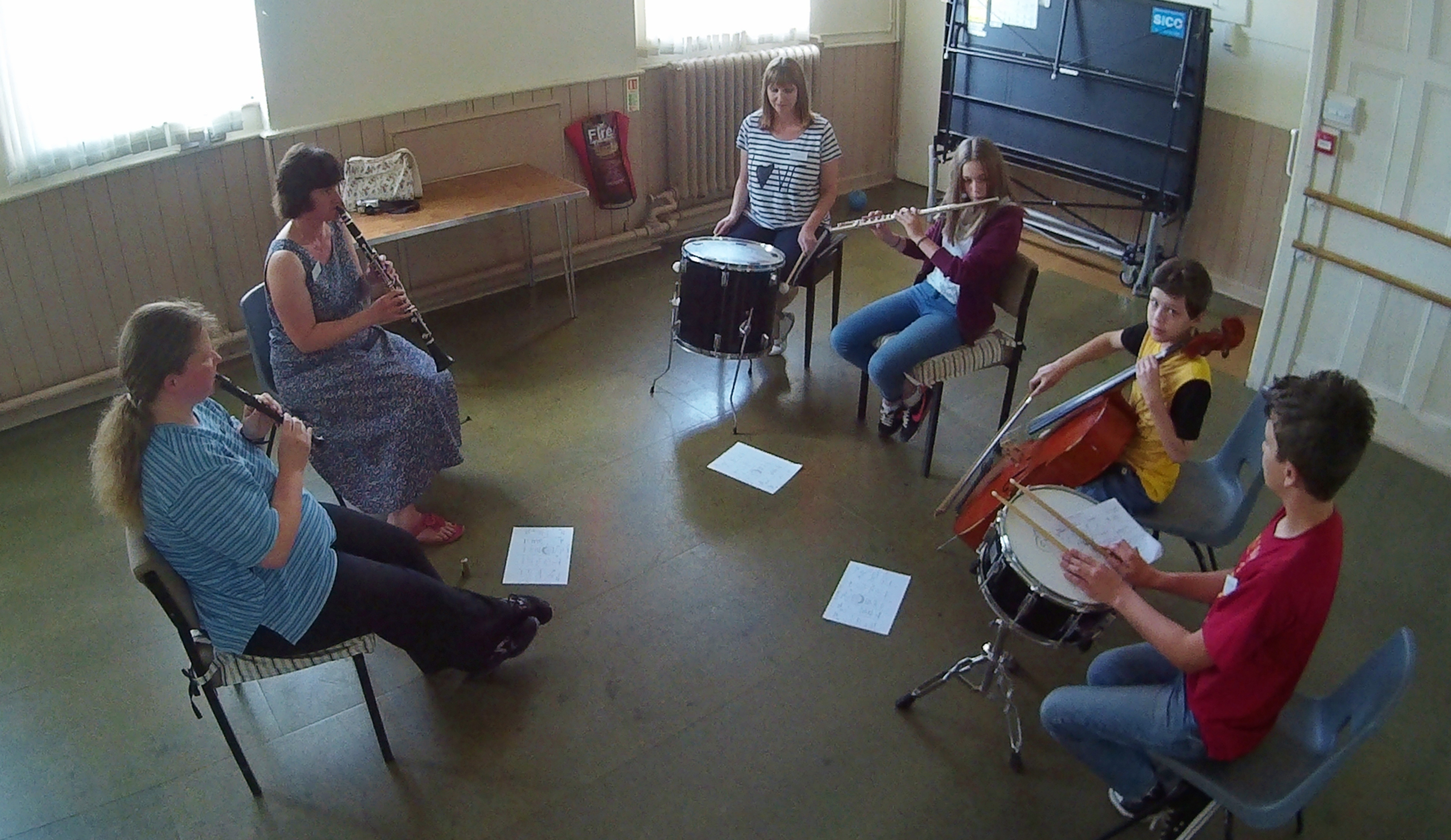 A 6-piece group from Magna Music Band learning improvisation techniques at their 2015 Summer Music Week