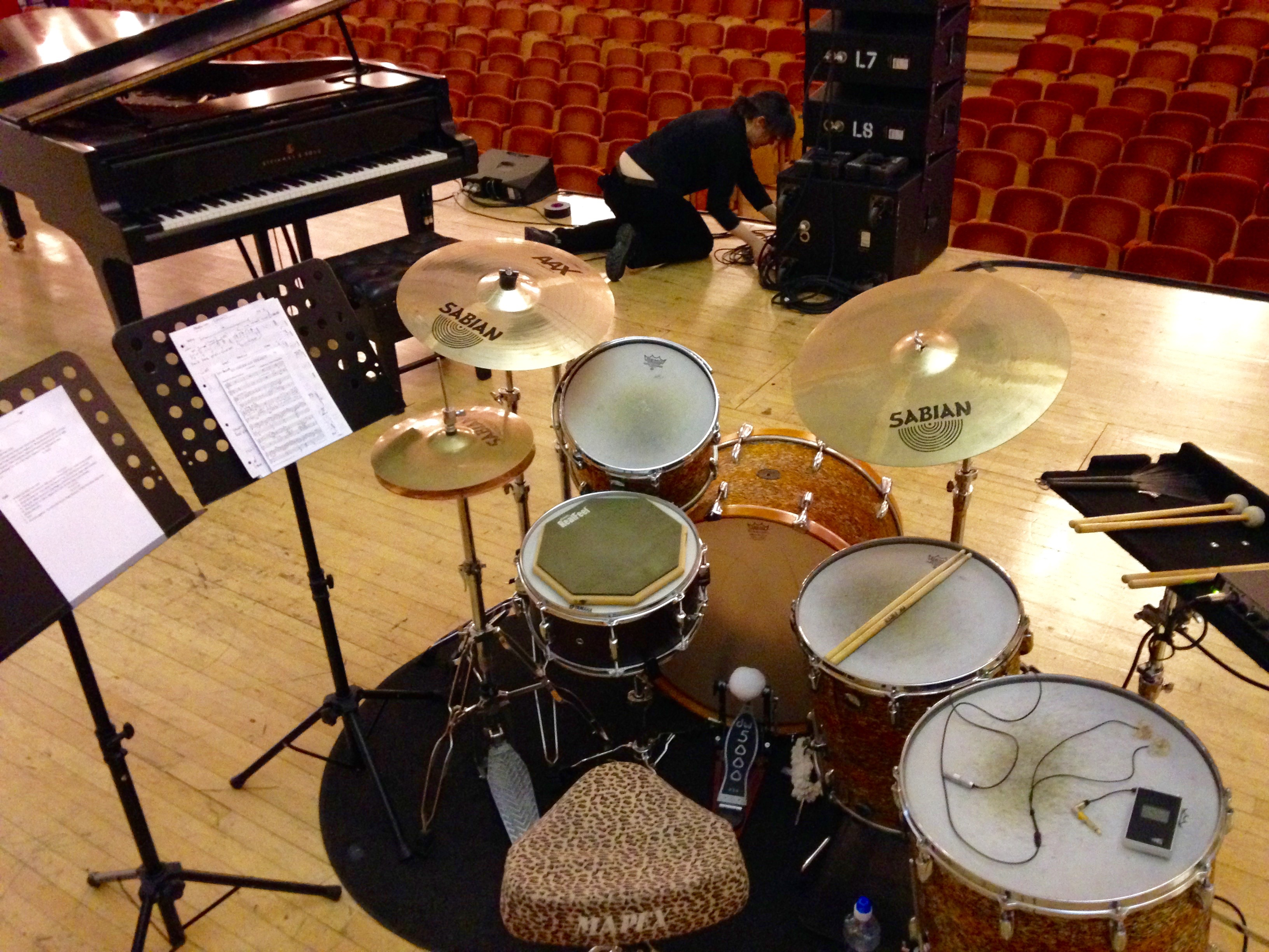 Lee Allatson's drum kit set up, player's side view. One Voice For Care, 2015