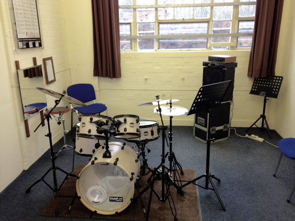 Picture of white Mapex Mars drum kit in Studio 1 at Dye House Drum Works