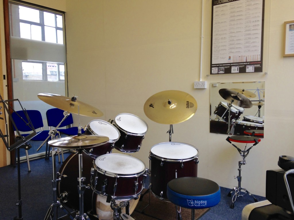Mapex Mars drum set with Sabian XS20 cymbals, plus Aquarian technical station in studio 2 at Dye House Drum Works