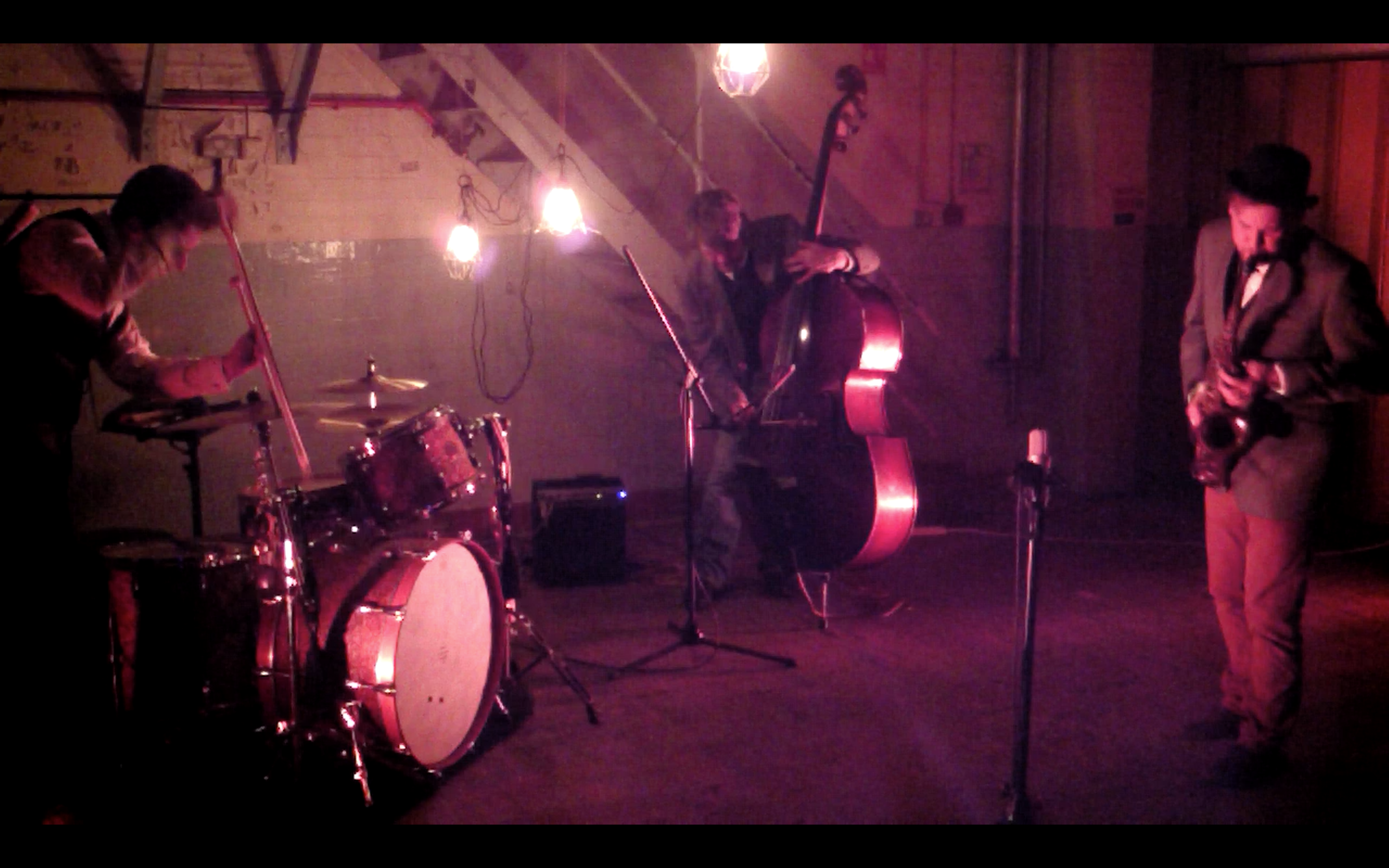 Lee Allatson, Stewart Brackley and Bruce Coates trio, improvising in an industrial workspace in Leicester