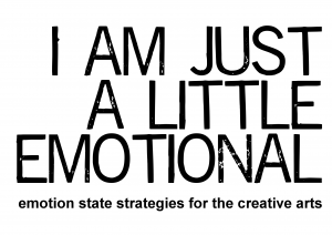 I am Just a Little Emotional logo, black text
