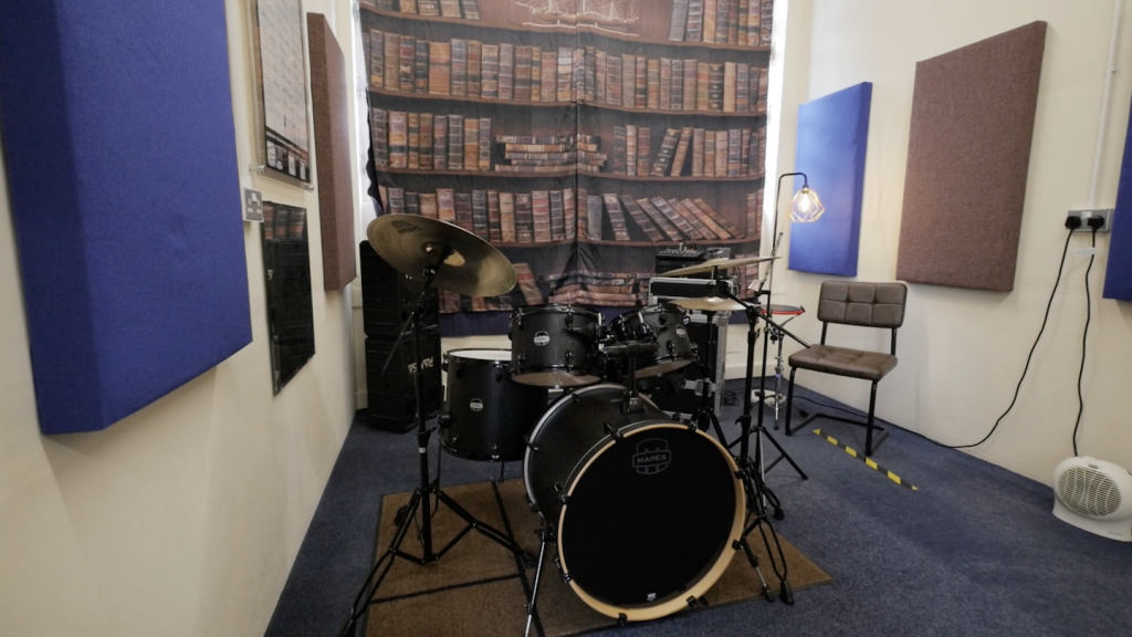 Picture of drum kit and room 2 space at Dye House Drum Works