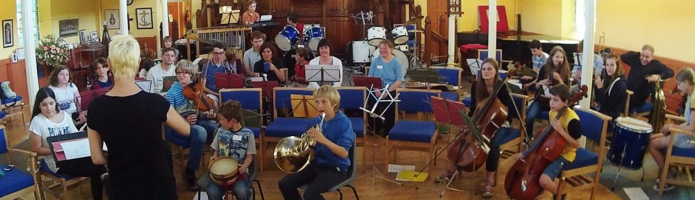 The Magna Music Band assembled at the United Reformed Church, Wigston, Leics. UK. During Their Summer Music Week, 2015